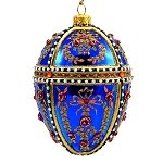 Faberge Inspired- Jeweled Egg Glass Ornament - Dark Blue