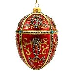 Faberge Inspired- Jeweled Egg Glass Ornament - Red